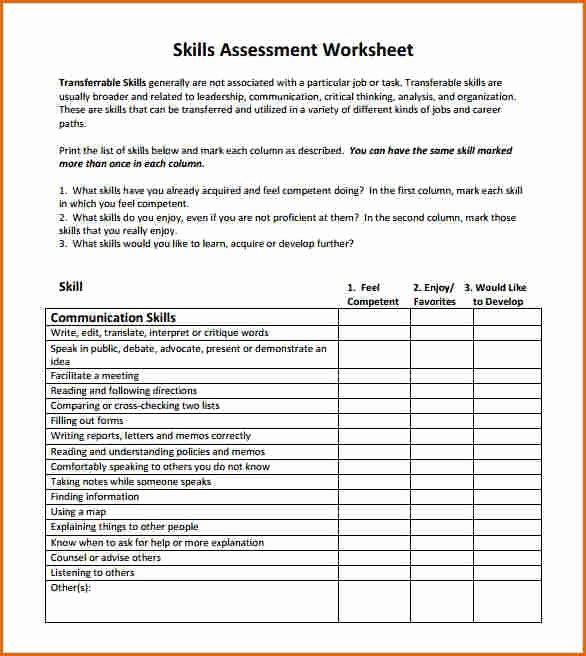 Job Skills assessment Worksheet Elegant 8 Skills assessment Template