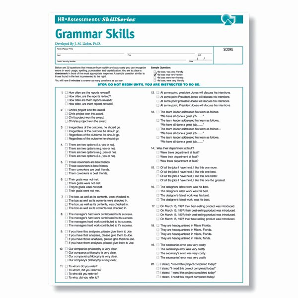 Job Skills assessment Worksheet Elegant Line Grammar Test for Job Applicants and Clerical Employees