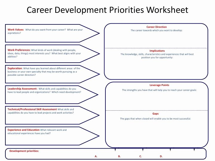 Job Skills assessment Worksheet Fresh Ppt Career Development Priorities Worksheet Powerpoint
