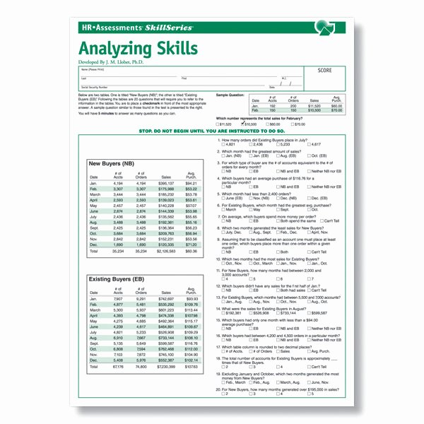 Job Skills assessment Worksheet Inspirational Analytical Skills Line Test for Pre Employment Testing