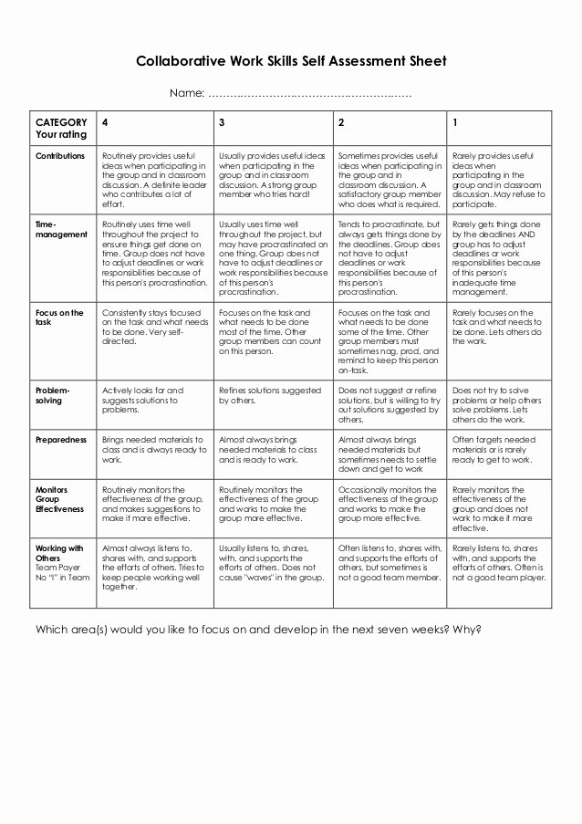 Job Skills assessment Worksheet New Collaborative Work Skills Self assessment Sheet
