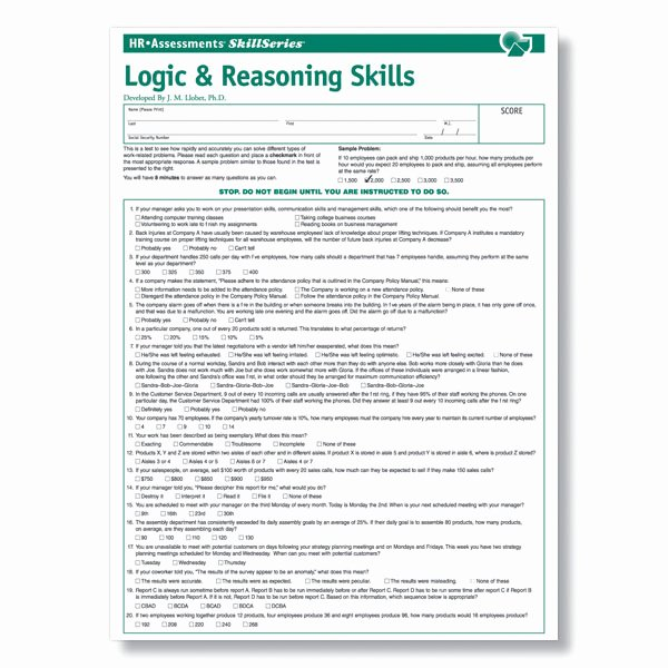Job Skills assessment Worksheet New Logic & Reasoning Test for Pre Employment