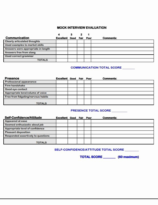 Job Skills assessment Worksheet New Use This form to Evaluate Your Next Mock Interview