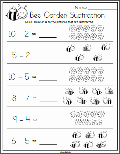 Kindergarten Math Worksheet Pdf Elegant Bee Garden Subtraction Math Worksheet for Kindergarten