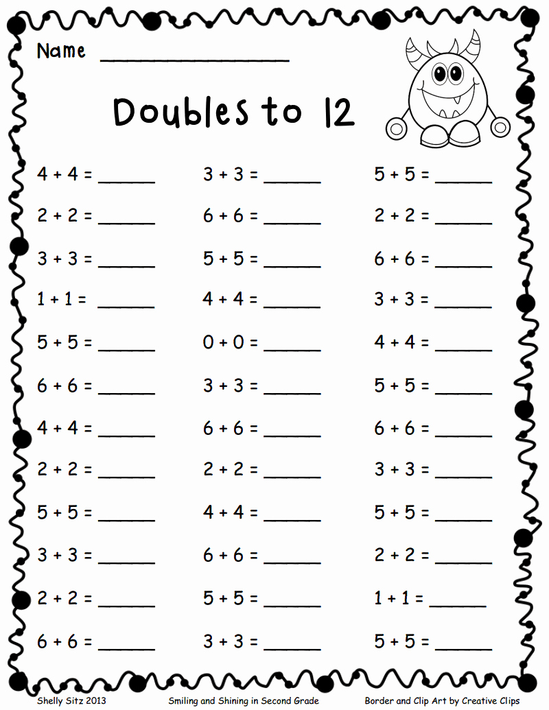 Kindergarten Math Worksheet Pdf Unique Doubles to 12 Pdf Math