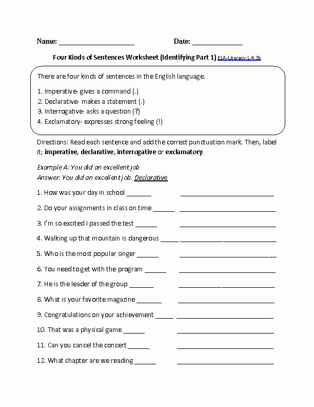Kinds Of Sentences Worksheet Unique Kinds Of Sentences 1 Ela Literacy L 4 3b Language