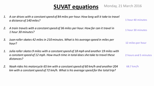 Kinematics Practice Problems Worksheet Unique Suvat Equations Kinematics by Missblilley Teaching