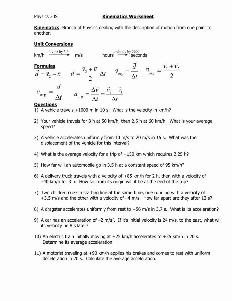 Kinematics Worksheet with Answers Awesome Worksheet Kinematics Worksheet Grass Fedjp Worksheet