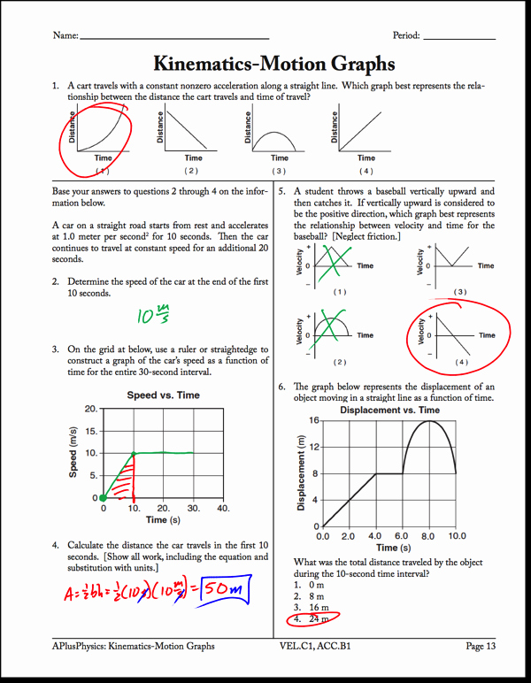 Kinematics Worksheet with Answers Fresh Motion Graphs Archives Regents Physics