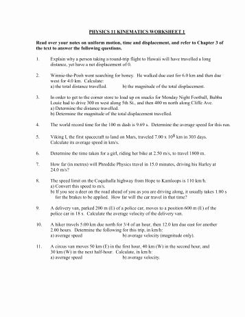 Kinematics Worksheet with Answers Luxury Water Molds