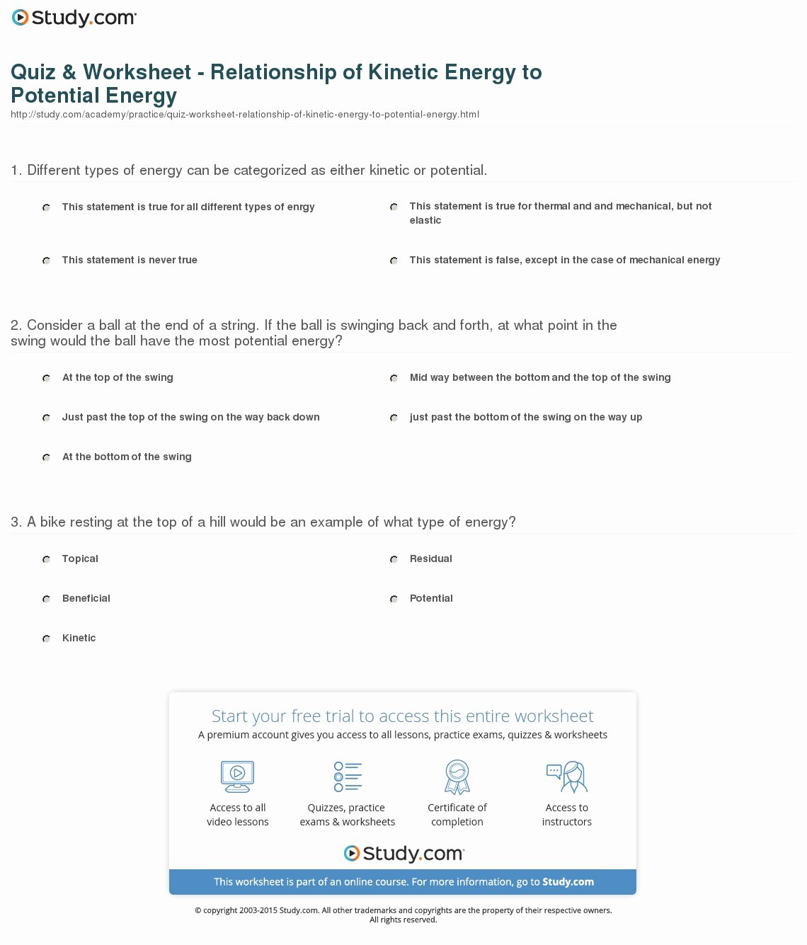 Kinetic and Potential Energy Worksheet Beautiful Quiz & Worksheet Relationship Of Kinetic Energy to
