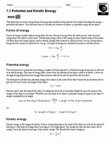 Kinetic and Potential Energy Worksheet Fresh Potential and Kinetic Energy 9th 12th Grade Worksheet