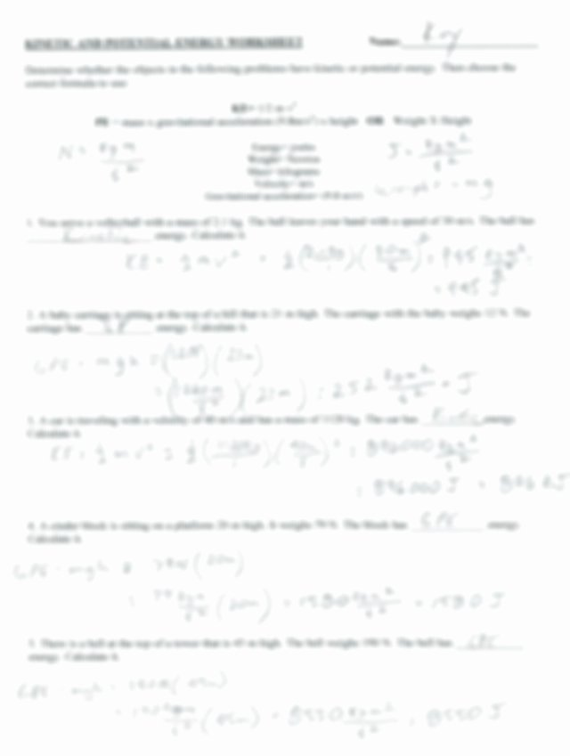 Kinetic and Potential Energy Worksheet Luxury Kinetic and Potential Energy Worksheet Answers 1yx79i9 Pdf