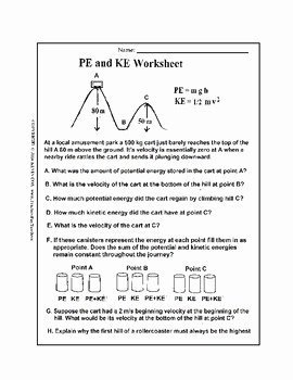 Kinetic and Potential Energy Worksheet New Potential Energy and Kinetic Energy Worksheet