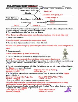 Kinetic and Potential Energy Worksheet New Work Power Potential and Kinetic Energy Practice
