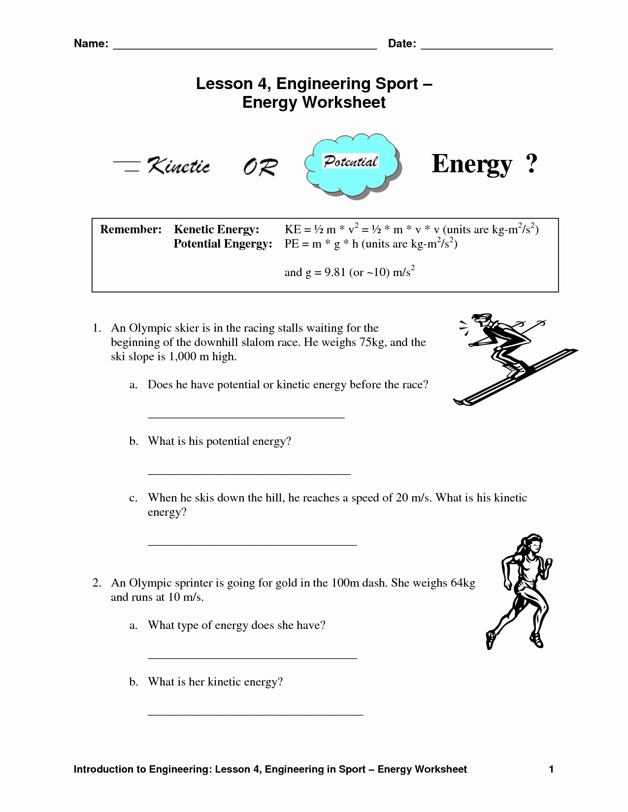 Kinetic and Potential Energy Worksheet Unique 12 Best Of Light Energy Worksheets Light Energy