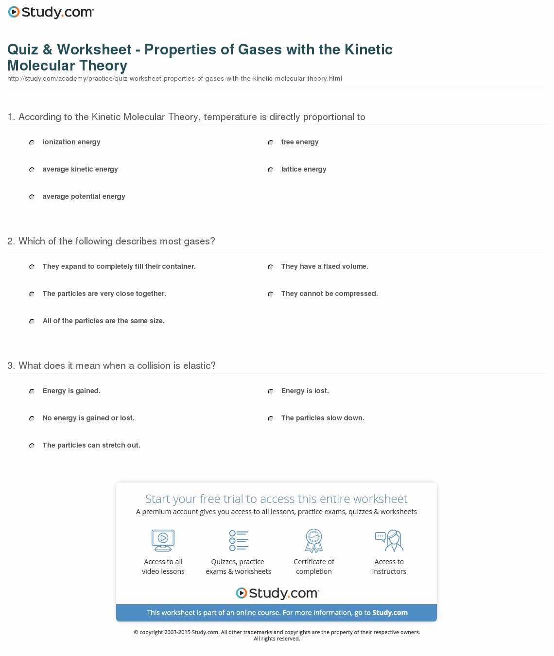 Kinetic Molecular theory Worksheet Beautiful Quiz & Worksheet Properties Of Gases with the Kinetic