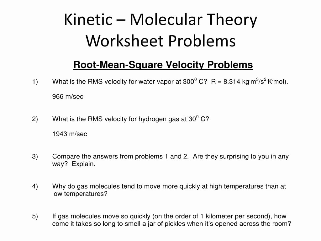 Kinetic Molecular theory Worksheet Best Of Kinetic Molecular theory Worksheet Funresearcher