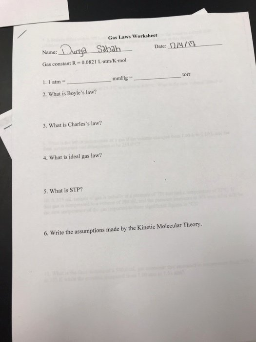Kinetic Molecular theory Worksheet Fresh solved Gas Laws Worksheet Name Ah Date 1224 1g Gas Cons