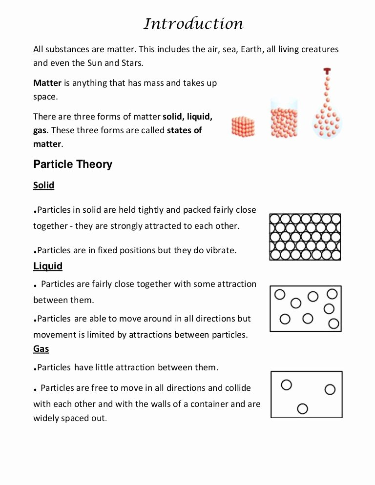 Kinetic Molecular theory Worksheet Luxury Kinetic Particle theory