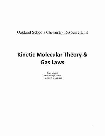 Kinetic Molecular theory Worksheet Unique Kinetic Molecular theory Worksheet