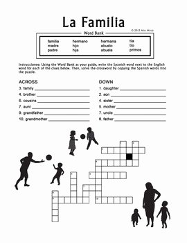 La Familia Worksheet In Spanish Beautiful La Familia Spanish Family Crossword Puzzle Worksheet by