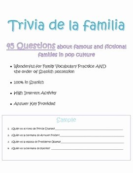 La Familia Worksheet In Spanish Best Of Spanish Family Questions Worksheet Trivia De La Familia