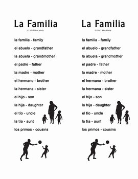 La Familia Worksheet In Spanish Luxury La Familia Spanish Family Crossword Puzzle Worksheet by