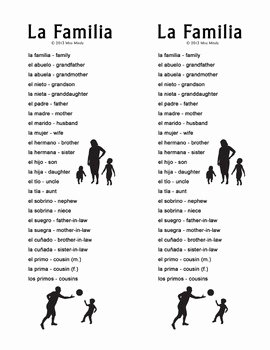 La Familia Worksheet In Spanish Unique La Familia Extended Family Spanish Family Crossword