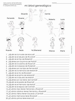 La Familia Worksheet In Spanish Unique La Familia Spanish Family Tree Questions Worksheet by
