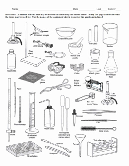 Lab Equipment Worksheet Answer Beautiful Lab Equipment Activity