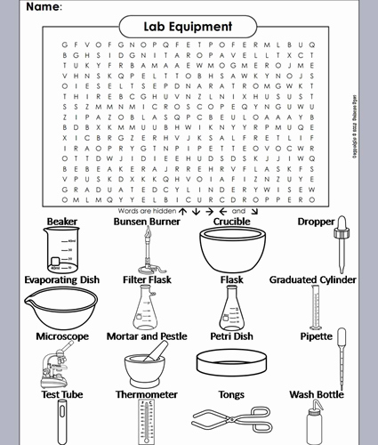 Lab Equipment Worksheet Answer Best Of Lab Equipment Word Search by Sciencespot Teaching