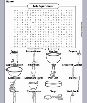 Lab Equipment Worksheet Answer Fresh Lab Equipment Word Search Coloring Book by Science Spot
