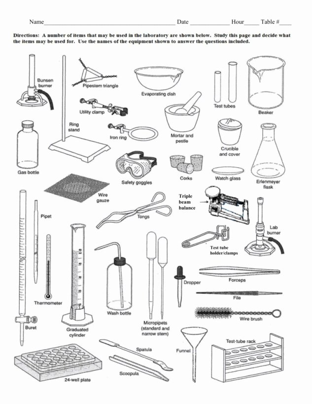 Lab Equipment Worksheet Answer Key Beautiful Laboratory Apparatus Worksheet Answers