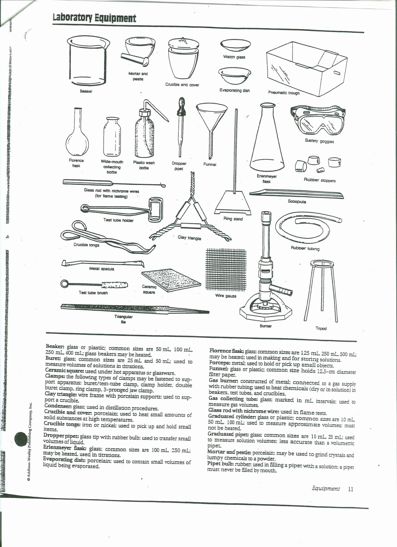 Lab Equipment Worksheet Answer Key New Laboratory Apparatus Worksheet Answers