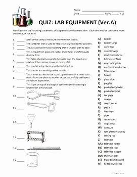 Lab Equipment Worksheet Answers Inspirational Lab Equipment 2 Quizzes Editable by Tangstar Science