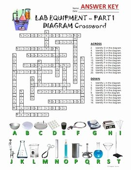 Lab Equipment Worksheet Answers Inspirational Lab Equipment Crossword with Diagram Part 1 Free