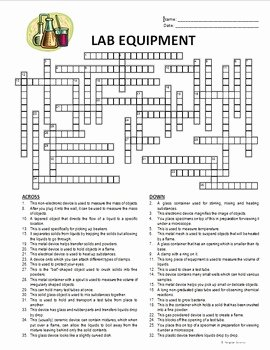 Lab Equipment Worksheet Answers New Lab Equipment Crossword Editable by Tangstar Science