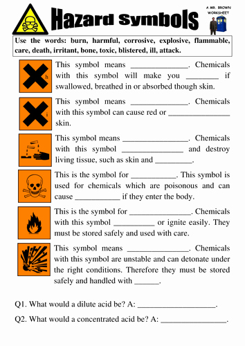 Lab Safety Symbols Worksheet Inspirational Hazard Symbols Worksheets by Danbrown360 Teaching