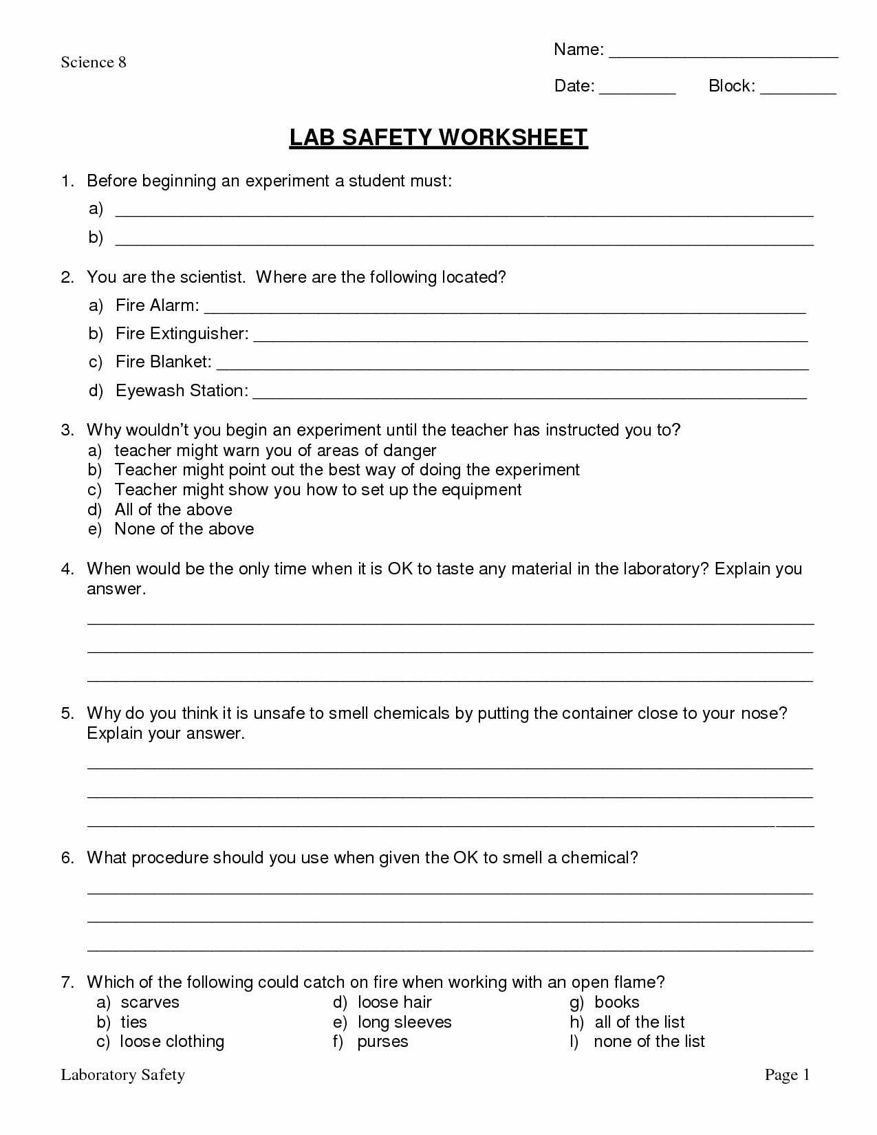 Lab Safety Worksheet Answer Key Best Of 11 Best Of Lab Equipment Worksheet Answers