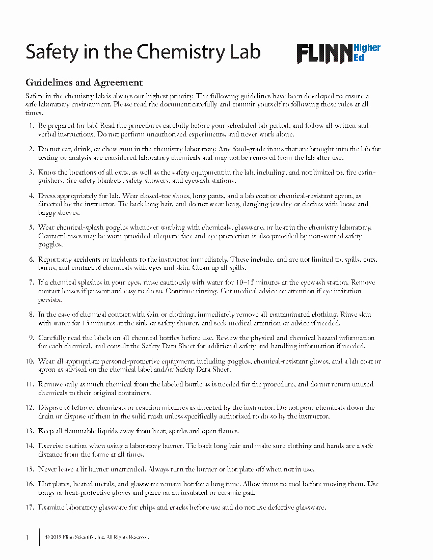 Lab Safety Worksheet Answer Key Luxury College Lab Safety Contract