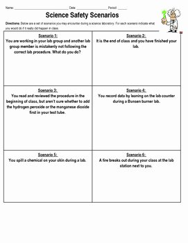 Lab Safety Worksheet Answers Awesome Science Lab Safety Scenarios by Kerry S Chemistry Corner