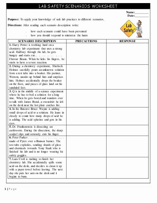 Lab Safety Worksheet Answers Beautiful Safety Scenarios Worksheet Handout Teacherlingo