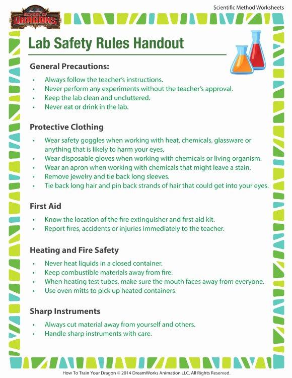 Lab Safety Worksheet Pdf Awesome Lab Safety Rules Handout Worksheet – Printable for Kids – sod