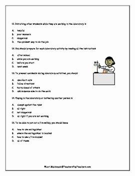 Lab Safety Worksheet Pdf Inspirational Lab Safety Science Safety Quiz by Lori Maldonado