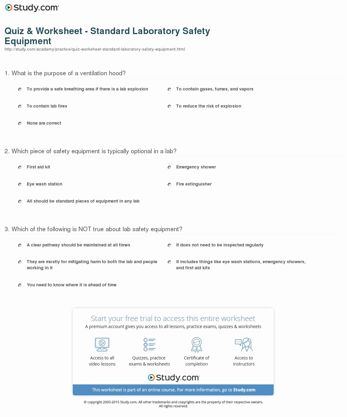 Lab Safety Worksheet Pdf Inspirational Quiz & Worksheet Standard Laboratory Safety Equipment