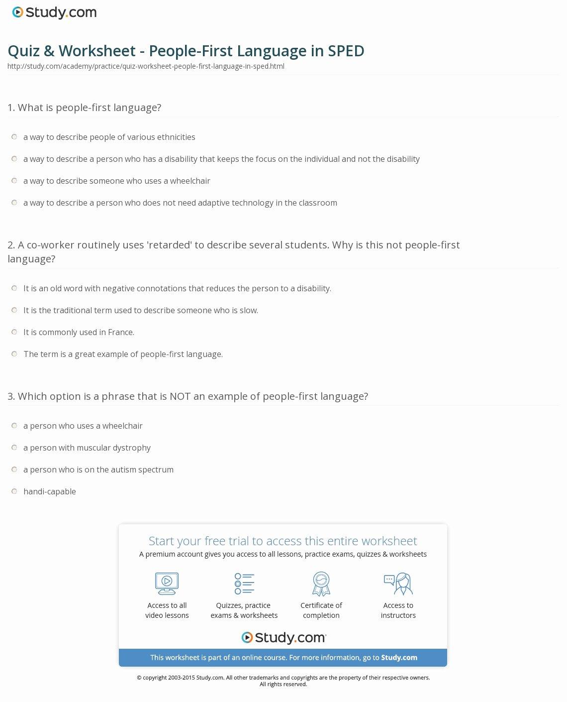 Language Of Science Worksheet Fresh Quiz & Worksheet People First Language In Sped