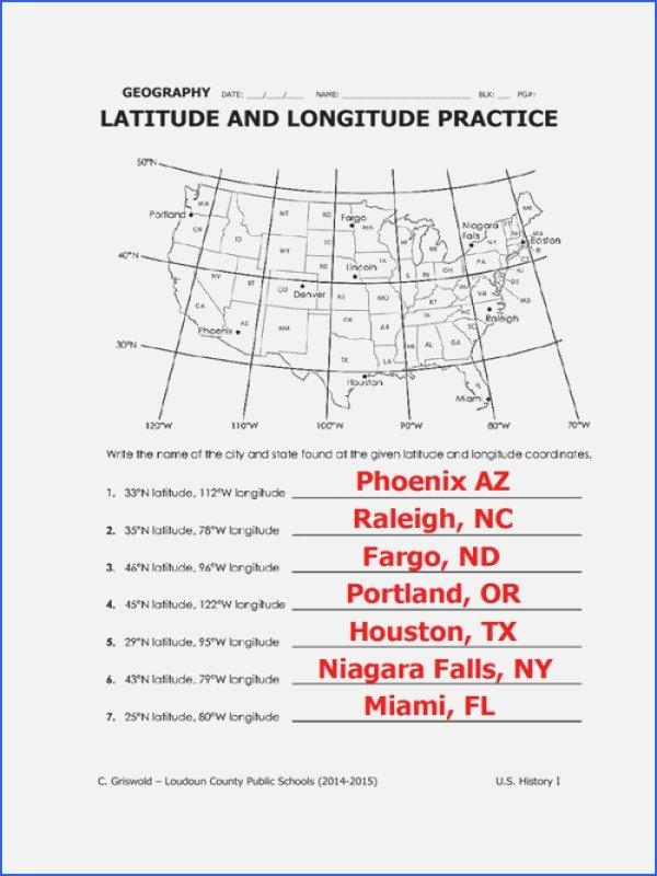 Latitude and Longitude Worksheet Answers Beautiful Practice Latitude and Longitude Worksheets the Best