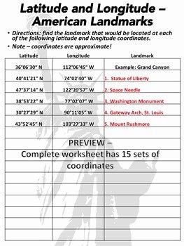 Latitude and Longitude Worksheet Answers Elegant Latitude and Longitude Worksheet U S Landmarks
