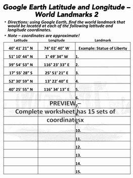 Latitude and Longitude Worksheet Answers Lovely Latitude and Longitude Worksheet World Landmarks 2